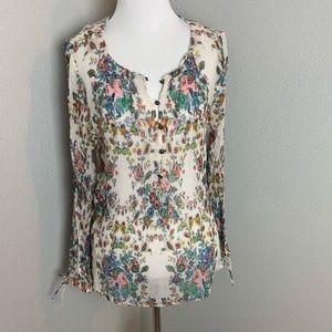 Large sheer floral lucky brand blouse